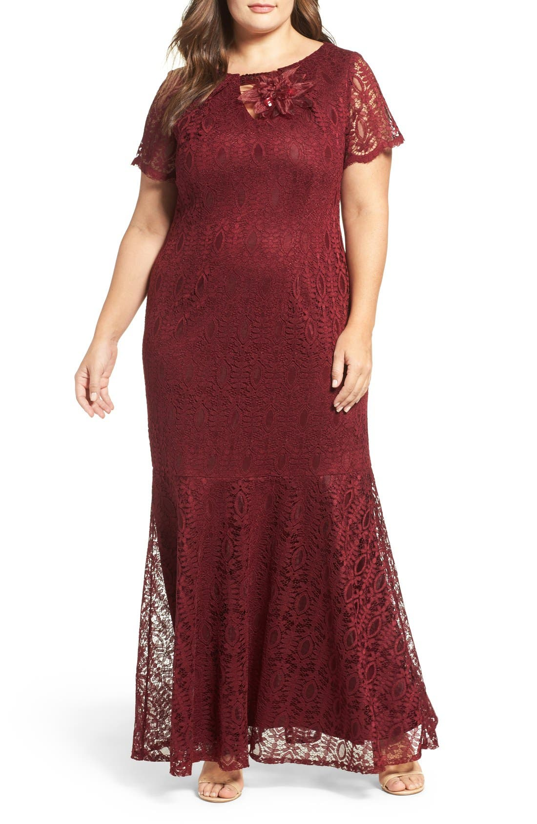 Embellished Lace Mermaid Gown,                             Main thumbnail 1, color,                             Garnet