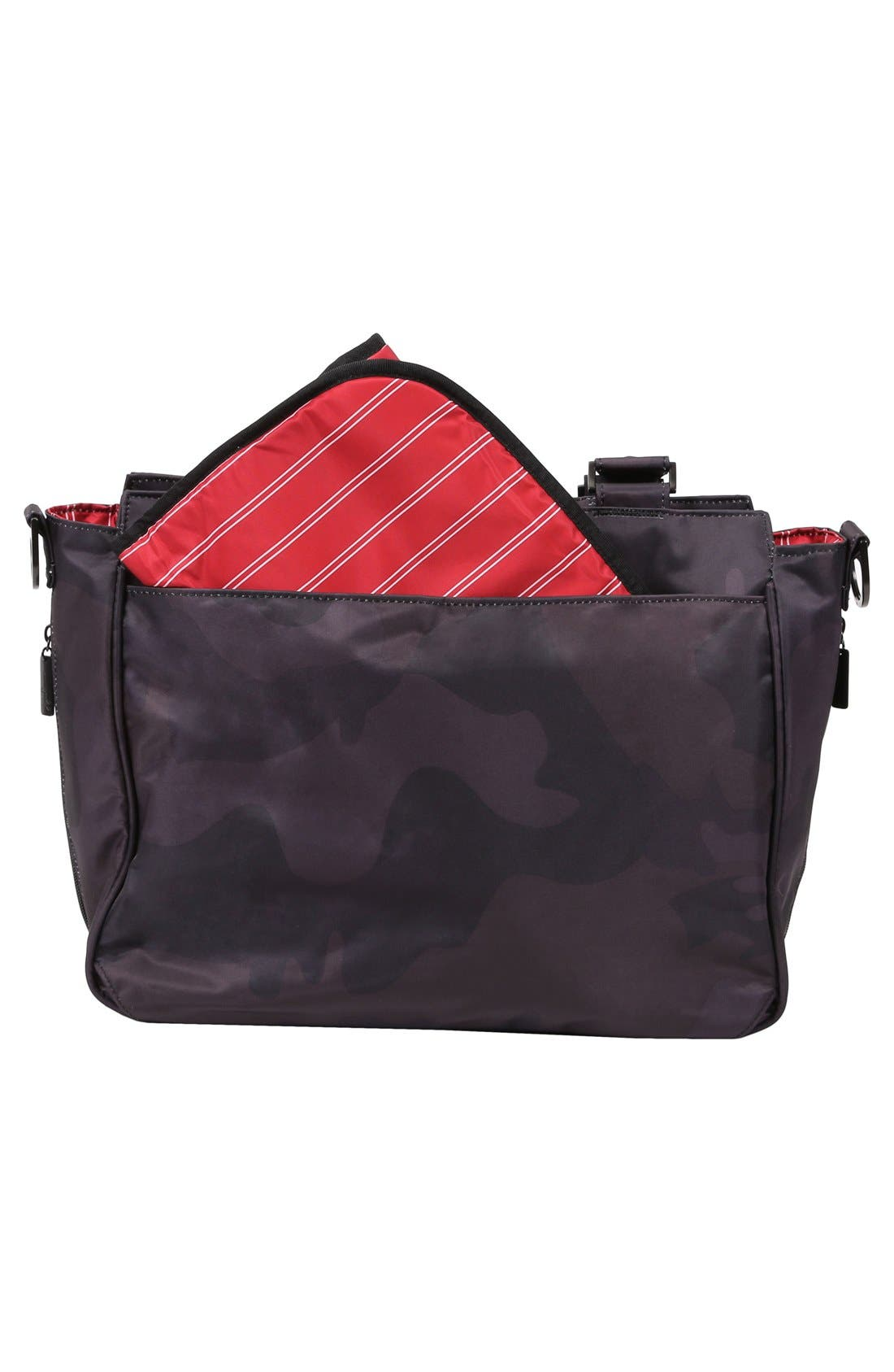 'Be Classy - Onyx Collection' Messenger Diaper Bag,                             Alternate thumbnail 4, color,                             Black Ops