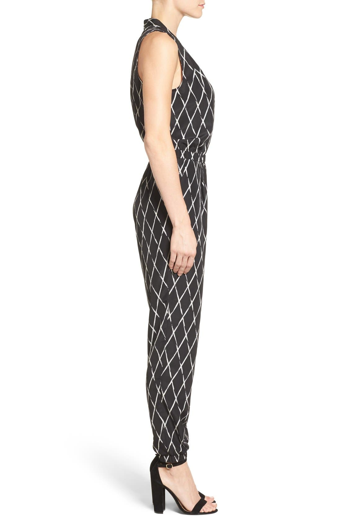 Alternate Image 3  - Halogen® V-Neck Sleeveless Jumpsuit (Regular & Petite)