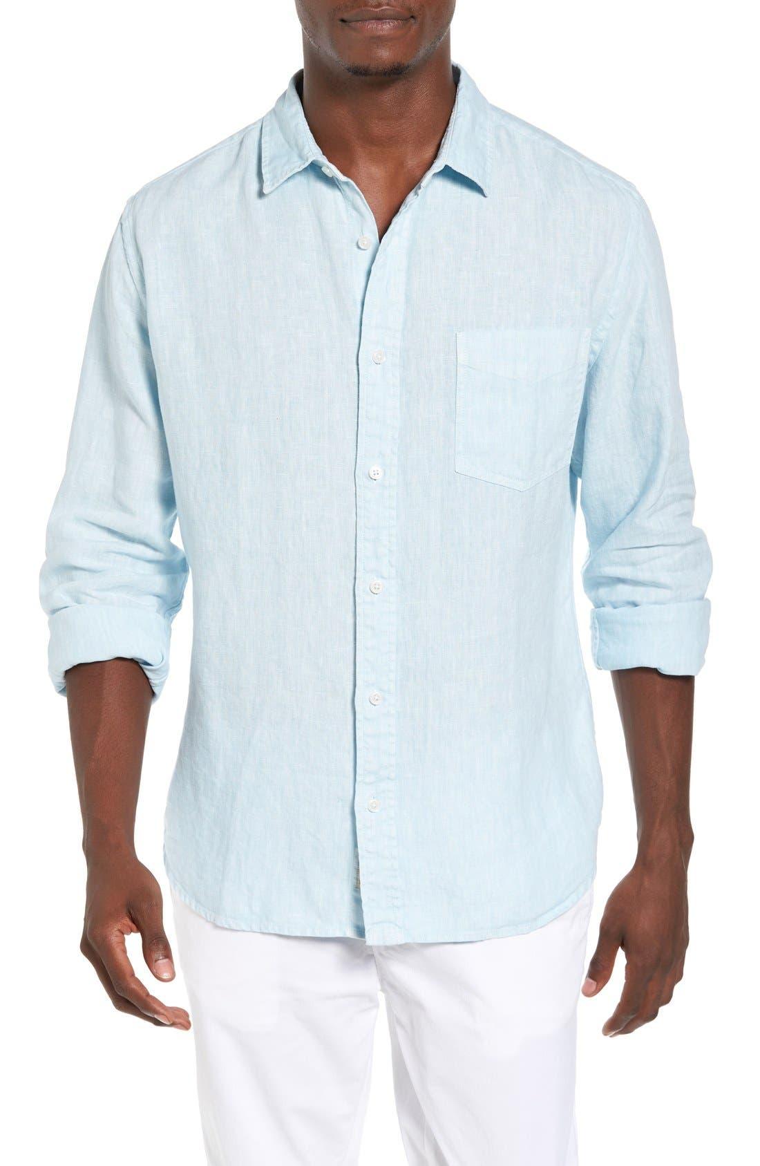 Nice Trim Fit Linen Sport Shirt,                         Main,                         color, Waterfall