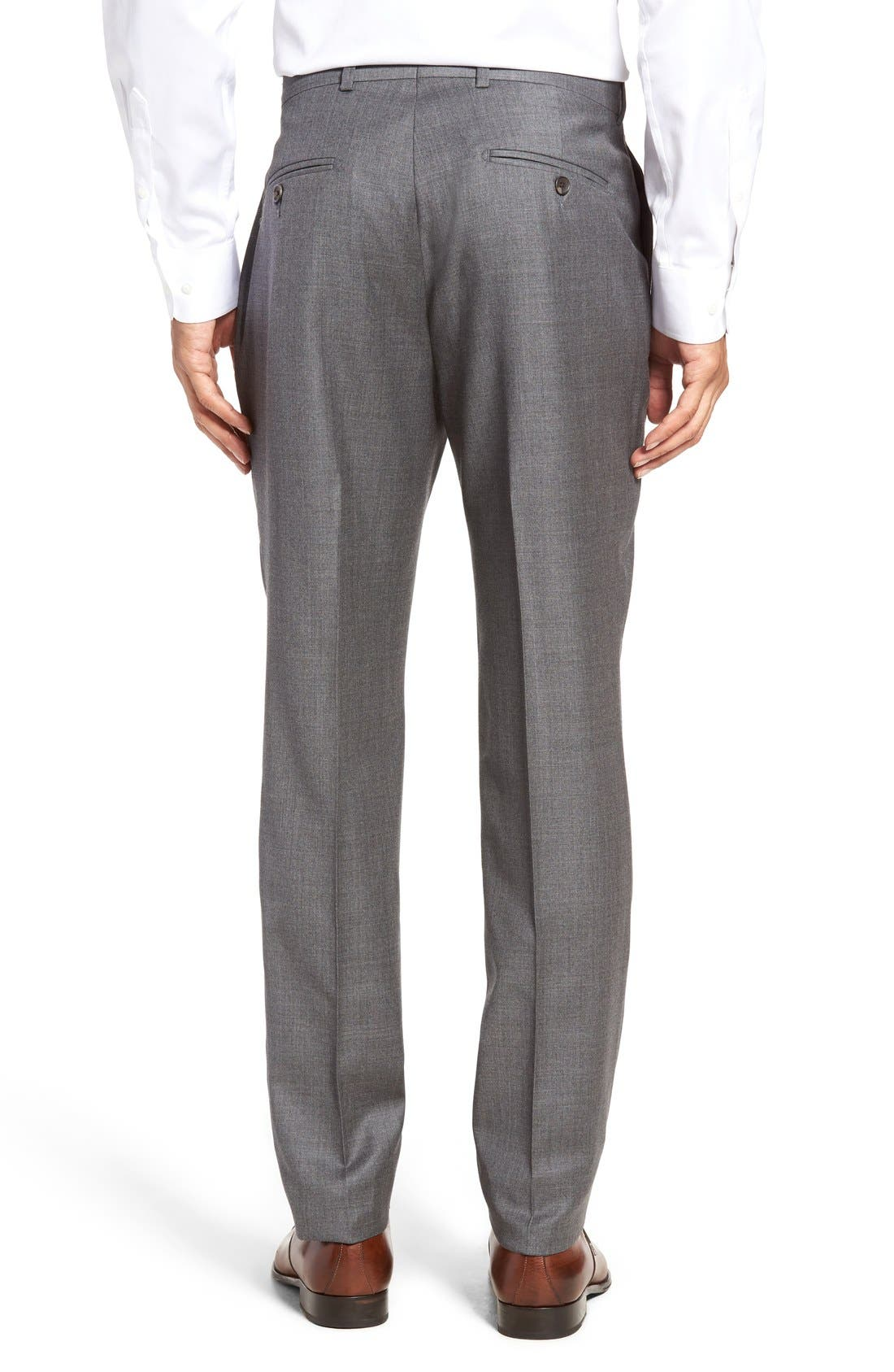 Dagger Flat Front Solid Wool Trousers,                             Alternate thumbnail 2, color,                             Medium Grey