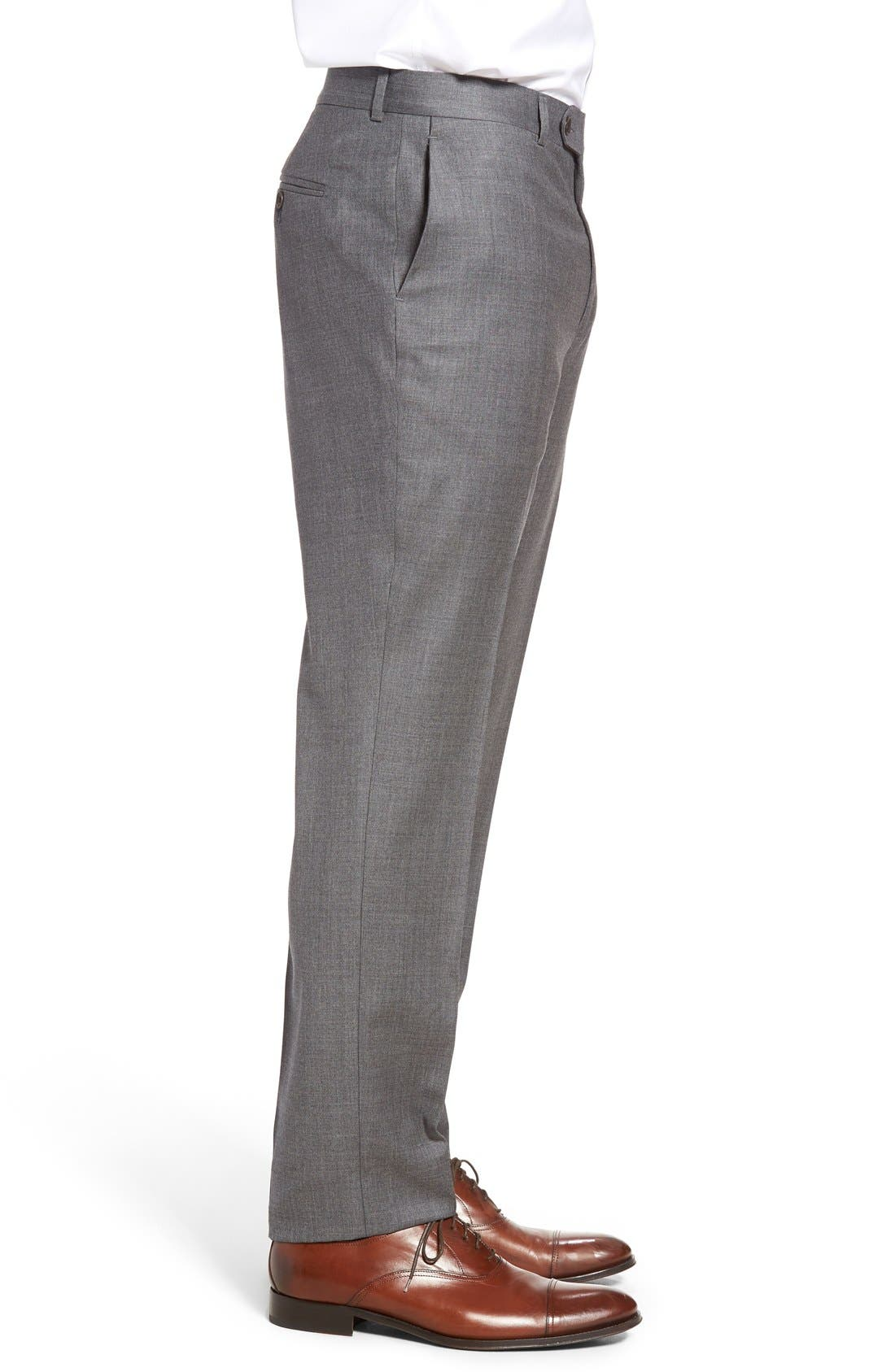 Dagger Flat Front Solid Wool Trousers,                             Alternate thumbnail 3, color,                             Medium Grey