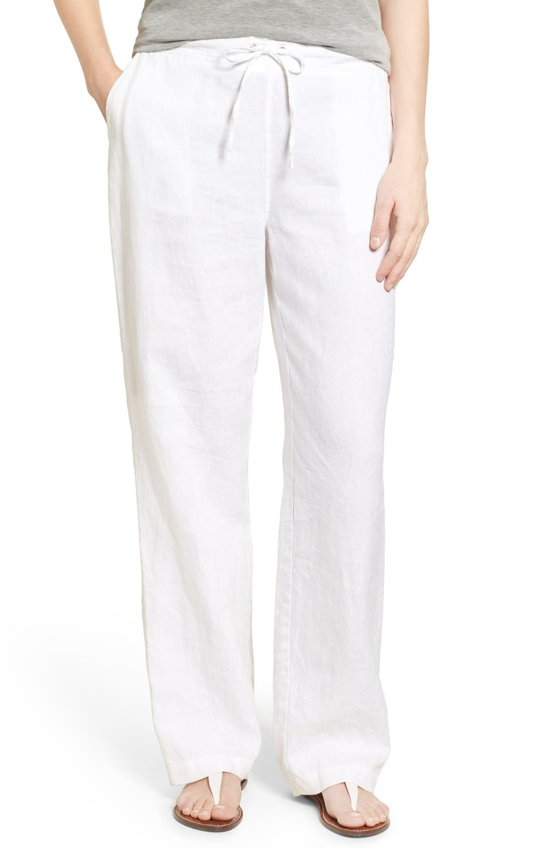 White Linen Pants Womens E4UceKNV