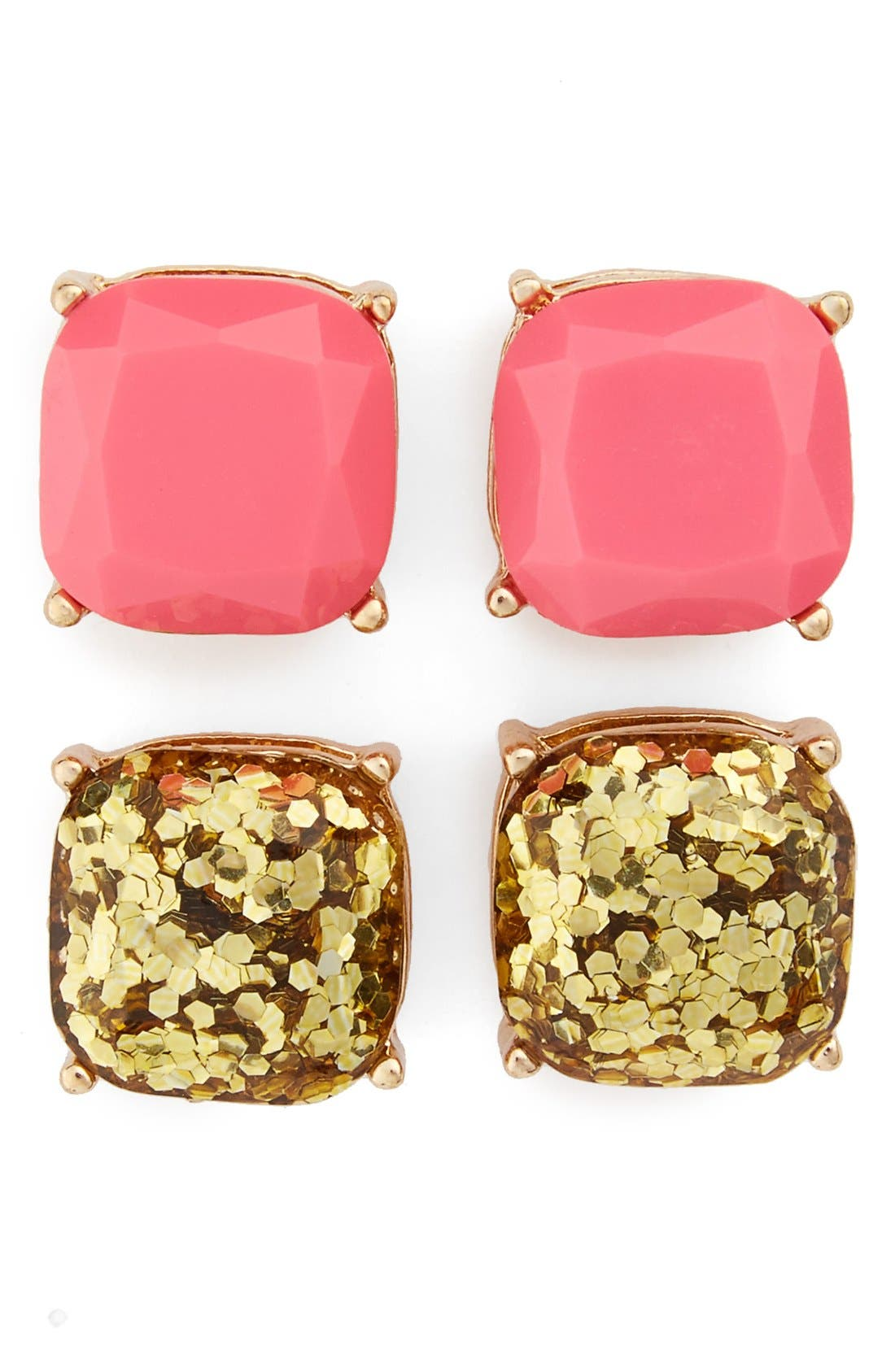 Square Stud Earrings,                             Main thumbnail 1, color,                             Pink/ Gold