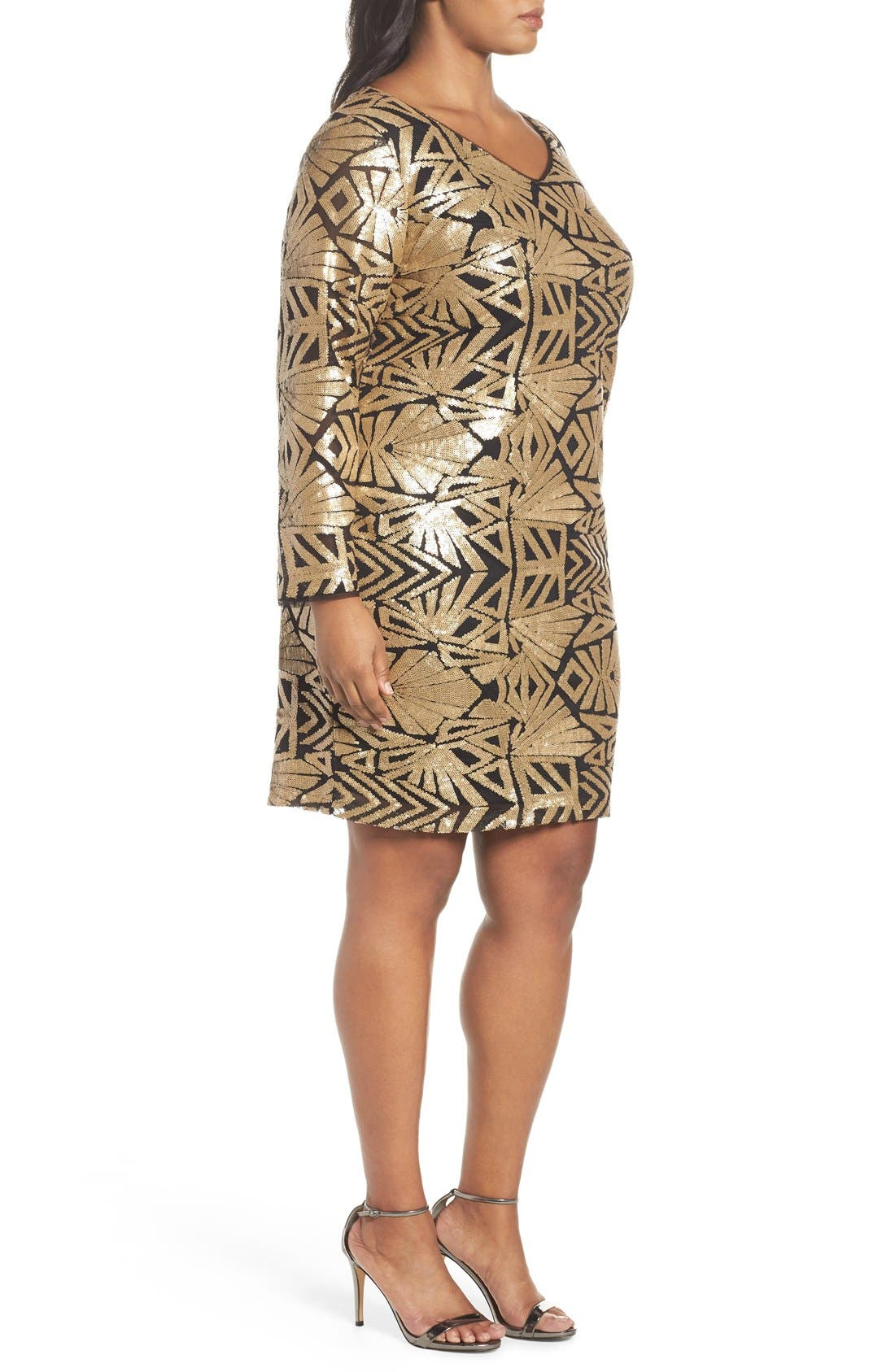 V-Neck Sequin Sheath Dress,                             Alternate thumbnail 3, color,                             Gold