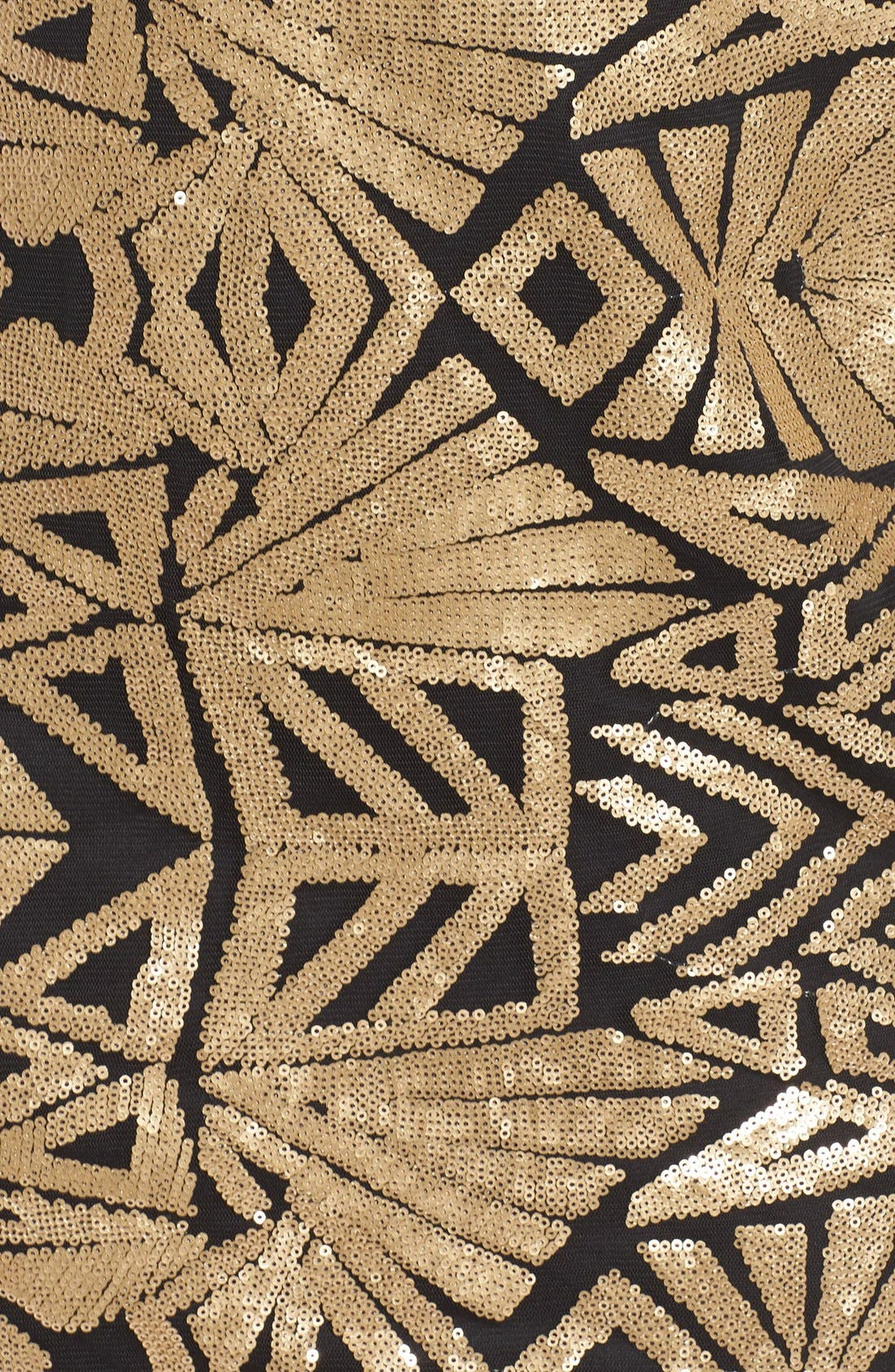 V-Neck Sequin Sheath Dress,                             Alternate thumbnail 5, color,                             Gold
