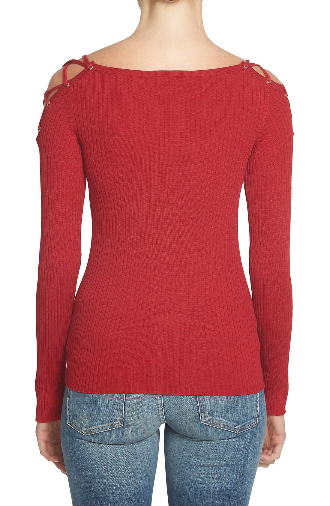 Alternate Image 2  - 1.STATE Lace-Up Shoulder Cotton Sweater