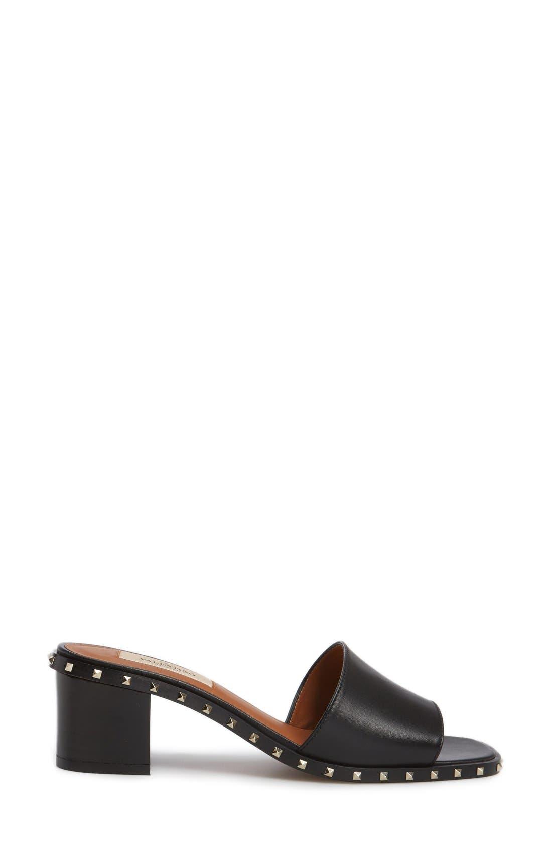 Soul Studded Slide Sandal,                             Alternate thumbnail 4, color,                             Black Leather