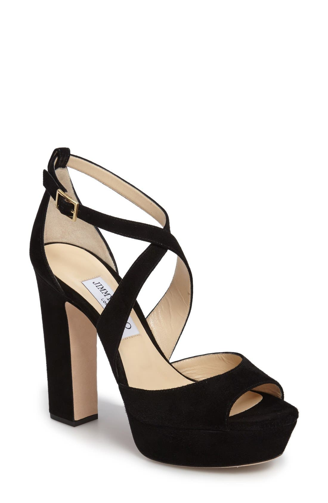 April Platform Sandal,                             Main thumbnail 1, color,                             Black Suede