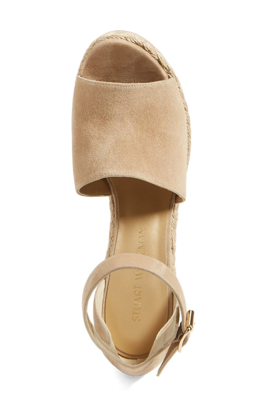 Sohojute Platform Wedge Sandal,                             Alternate thumbnail 3, color,                             Mojave Suede