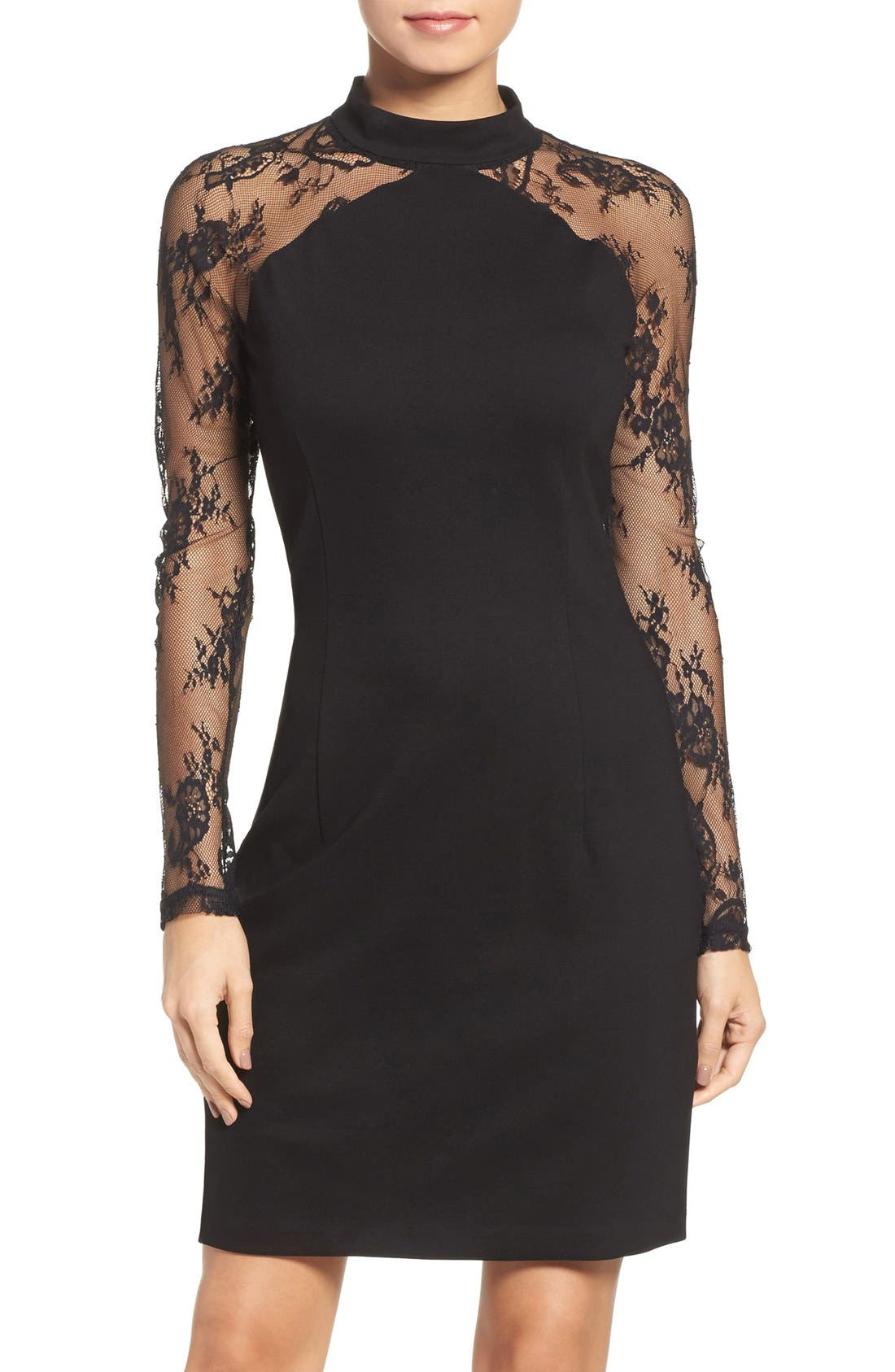 Main Image - BB Dakota Lace & Ponte Dress