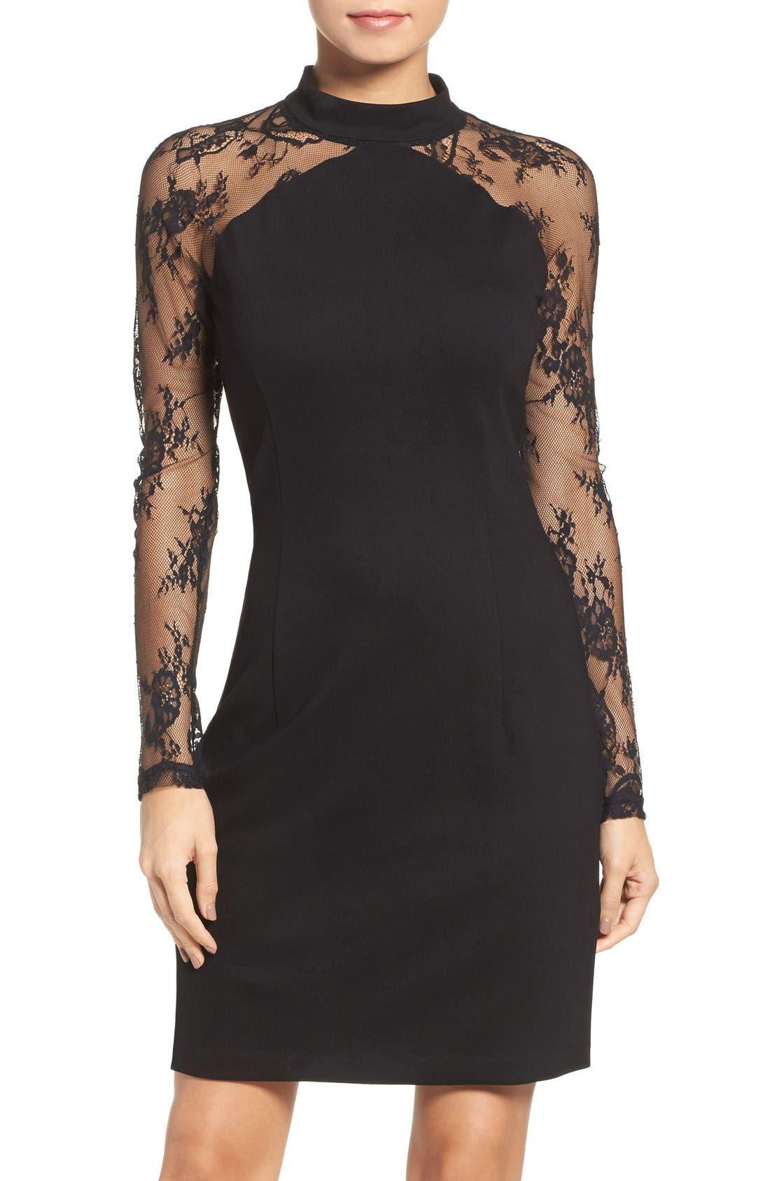 Lace & Ponte Dress,                         Main,                         color, Black