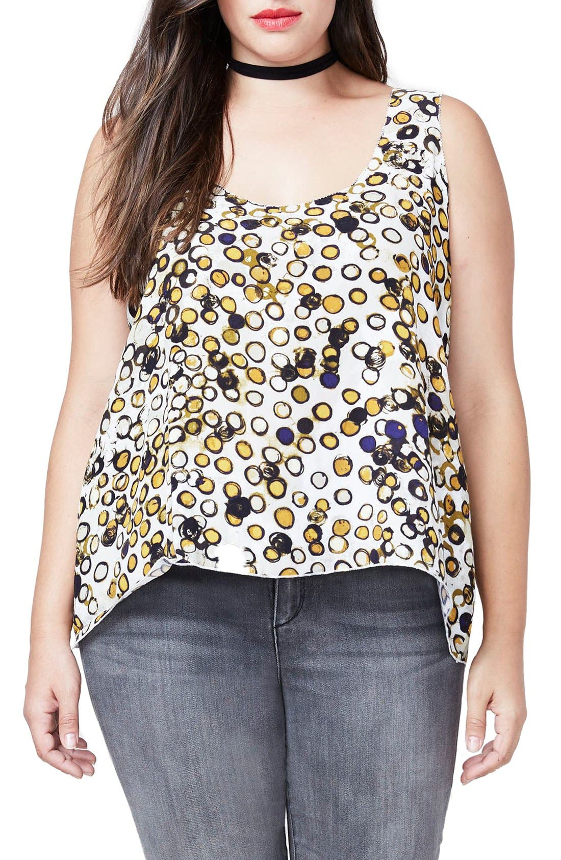 Tie Back Tank,                         Main,                         color, Ivory Combo