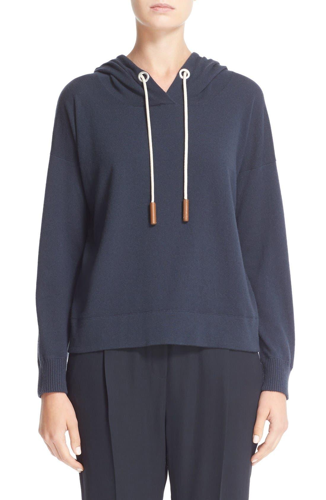 Cashmere Hooded Sweatshirt,                             Main thumbnail 1, color,                             Slate Blue