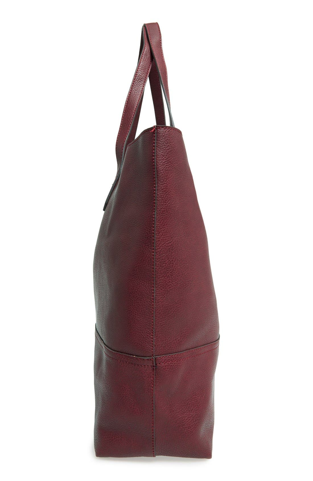 Dawson Oversize Faux Leather Shopper,                             Alternate thumbnail 5, color,                             Oxblood