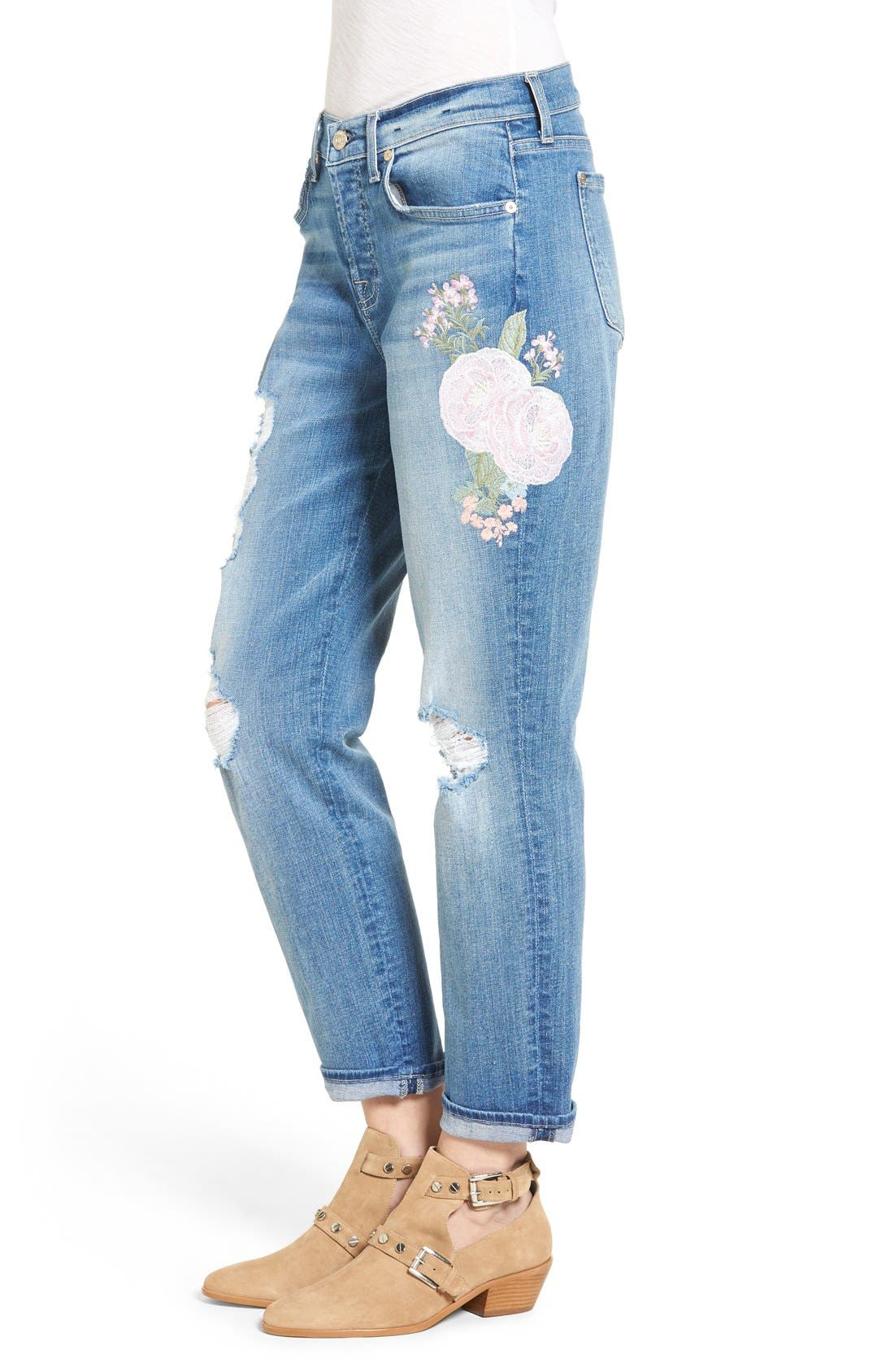 Alternate Image 4  - 7 For All Mankind® Josefina Embroidered Boyfriend Jeans (Denim Embroidery Botanical)