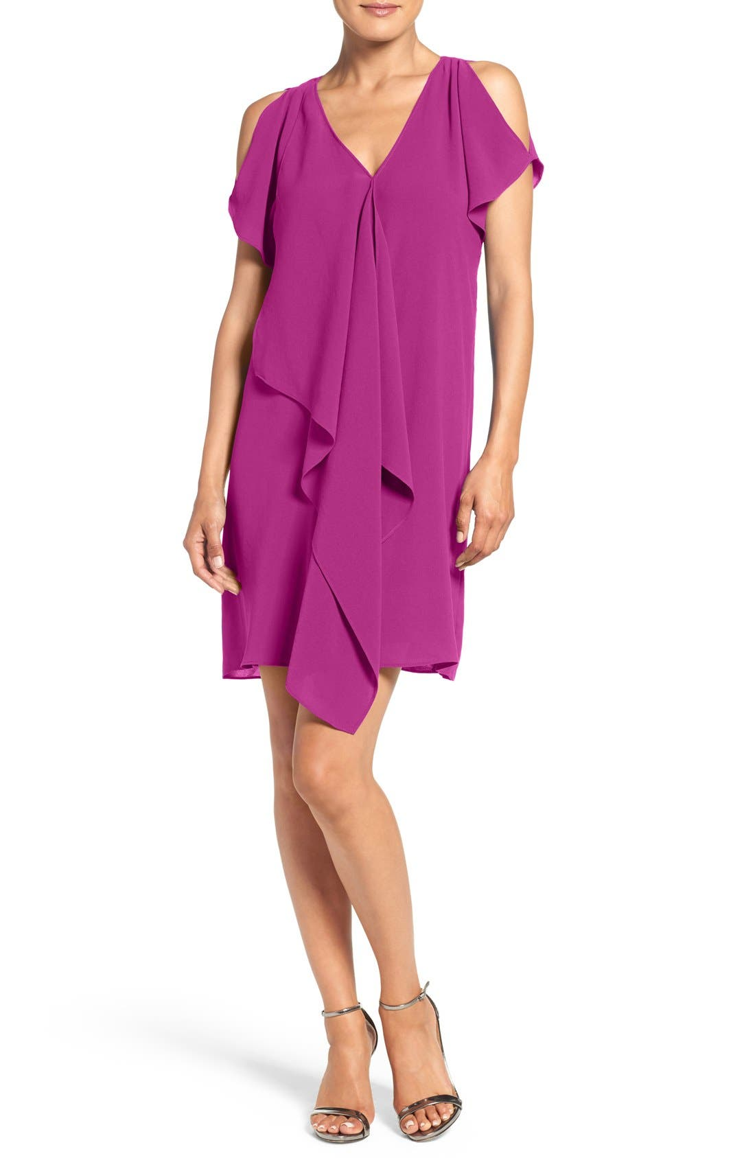 Main Image - Adrianna Papell Cold Shoulder Draped Shift Dress (Regular & Petite)