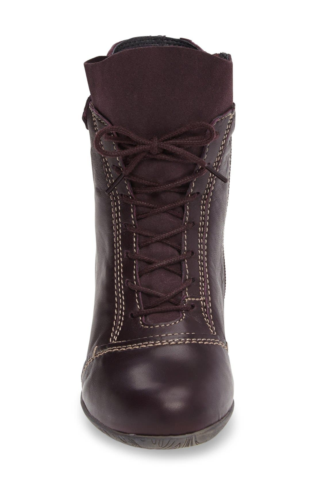 'Jesse' Lace-Up Bootie,                             Alternate thumbnail 3, color,                             Aubergine Leather