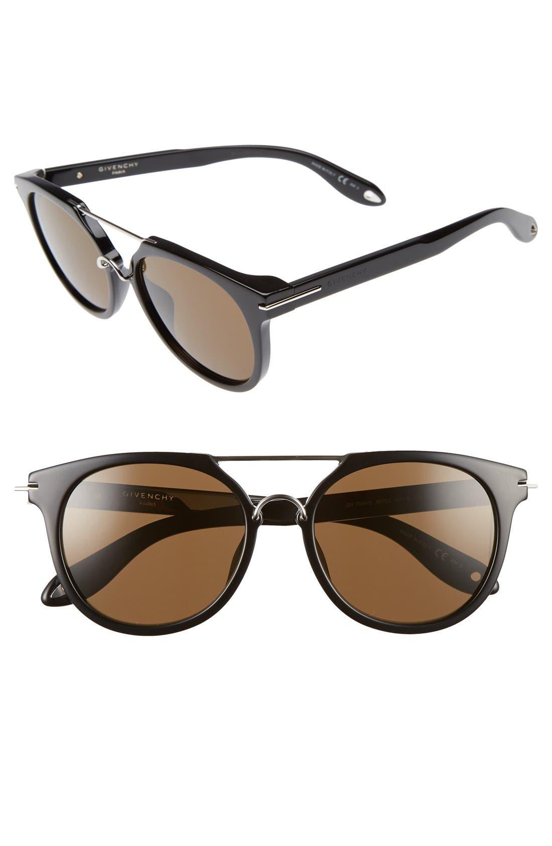 7034/S 54mm Round Sunglasses,                         Main,                         color, Black