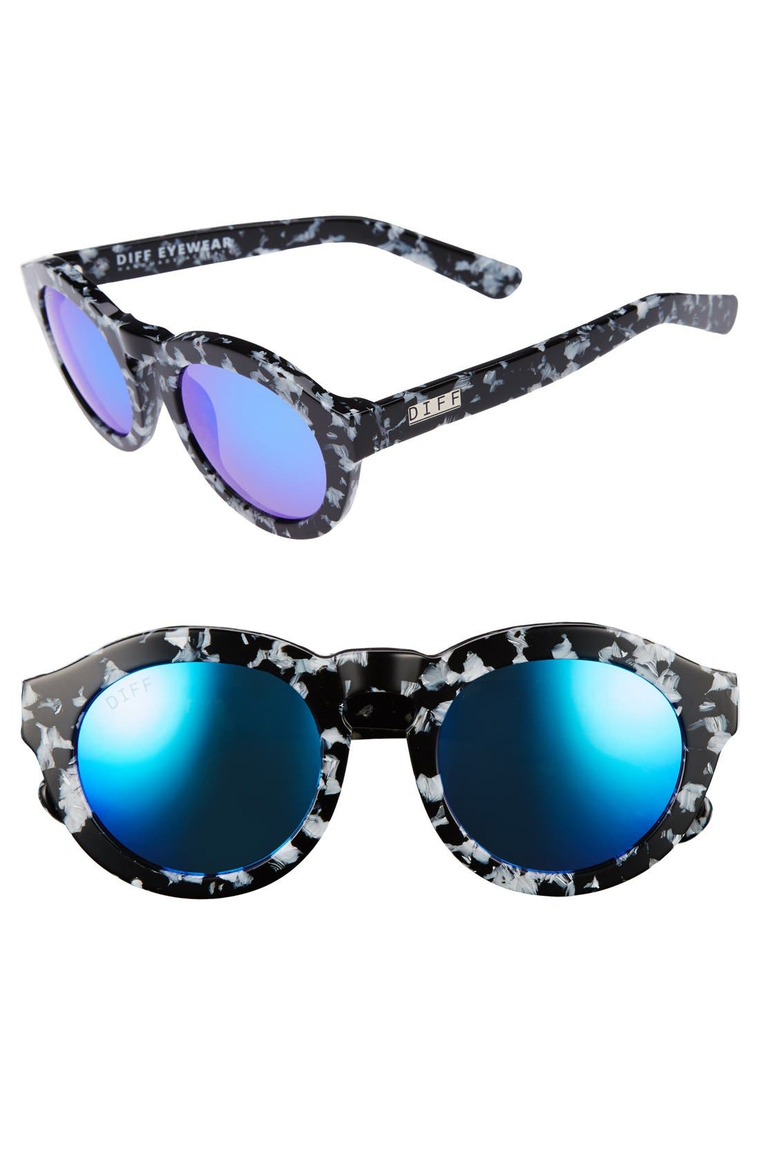 Dime 48mm Retro Sunglasses,                         Main,                         color, Black White/ Blue