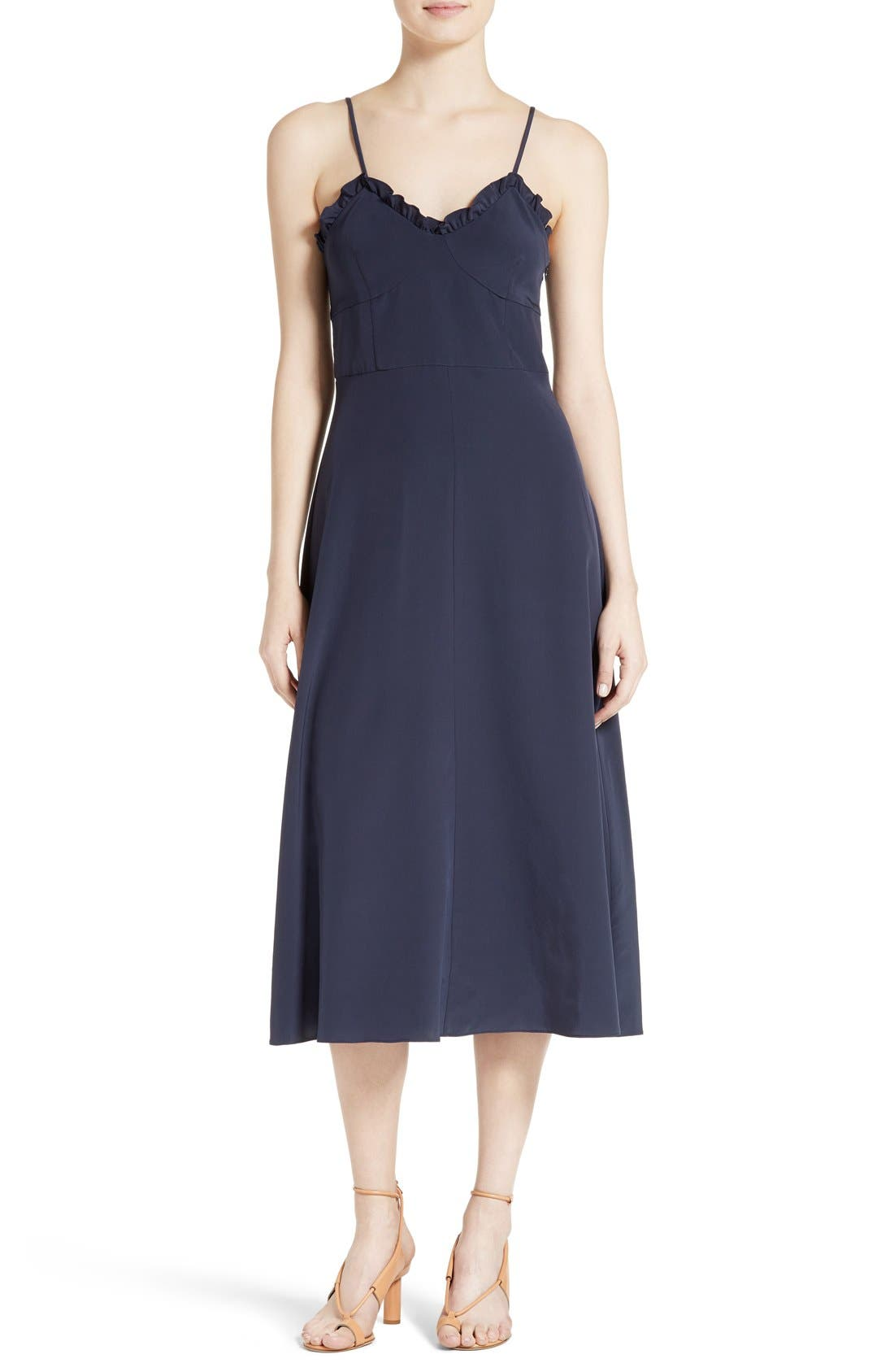 Main Image - Tibi Ruffled Silk Midi Dress
