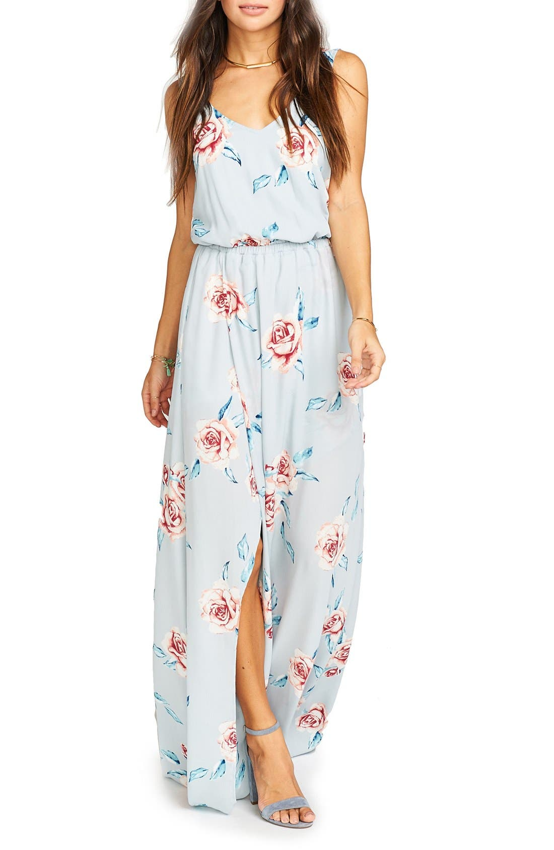 Kendall Soft V-Back A-Line Gown,                         Main,                         color, Flower Hour Sky