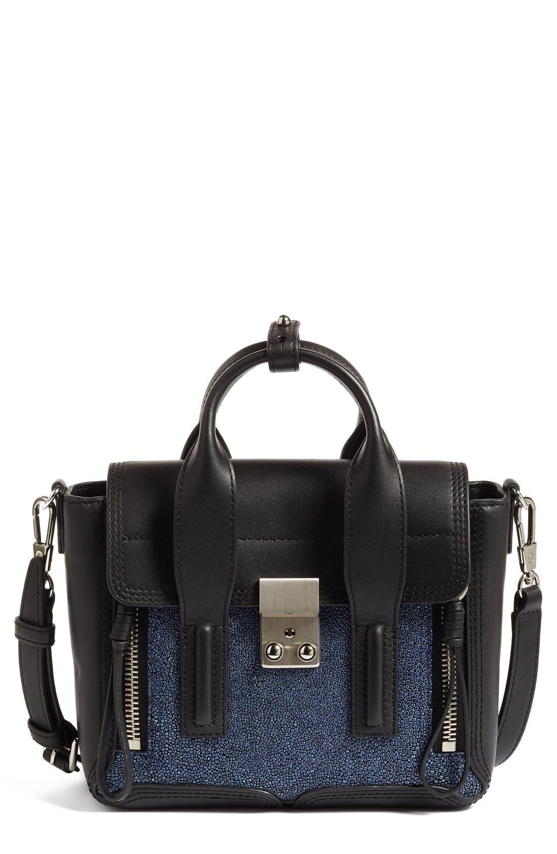 Mini Pashli Leather Satchel,                         Main,                         color, Sapphire