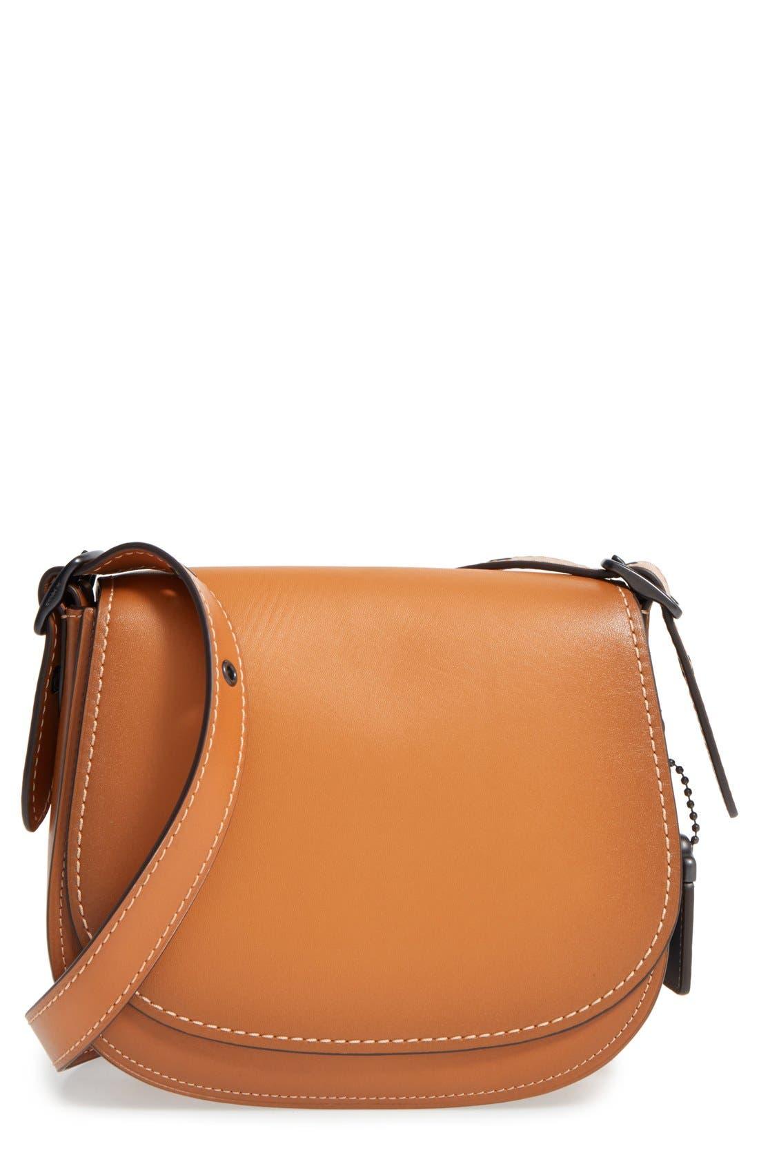 '23' Leather Saddle Bag,                         Main,                         color, Butterscotch
