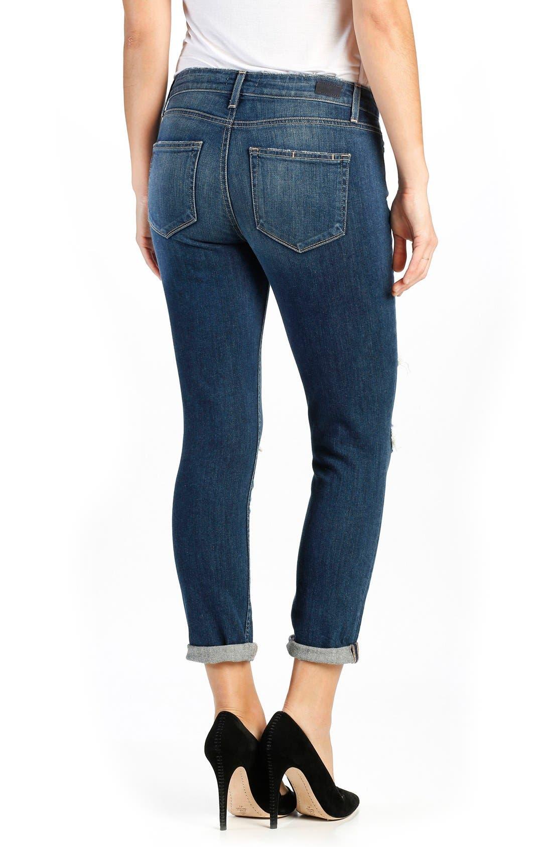 Anabelle Crop Slim Boyfriend Jeans,                             Alternate thumbnail 2, color,                             Lala Destructed