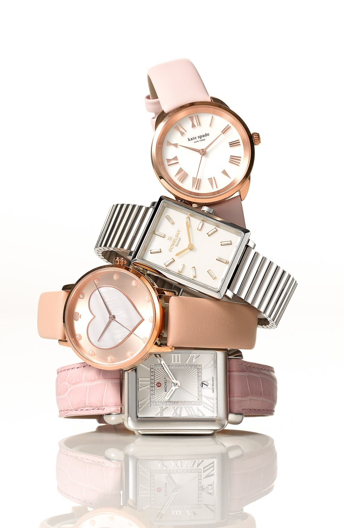 Alternate Image 3  - kate spade new york metro mother-of-pearl heart watch, 34mm