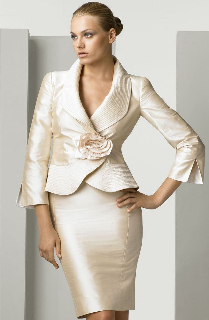 Armani collezioni silk shantung skirt suit nordstrom for Womens white dress suit wedding