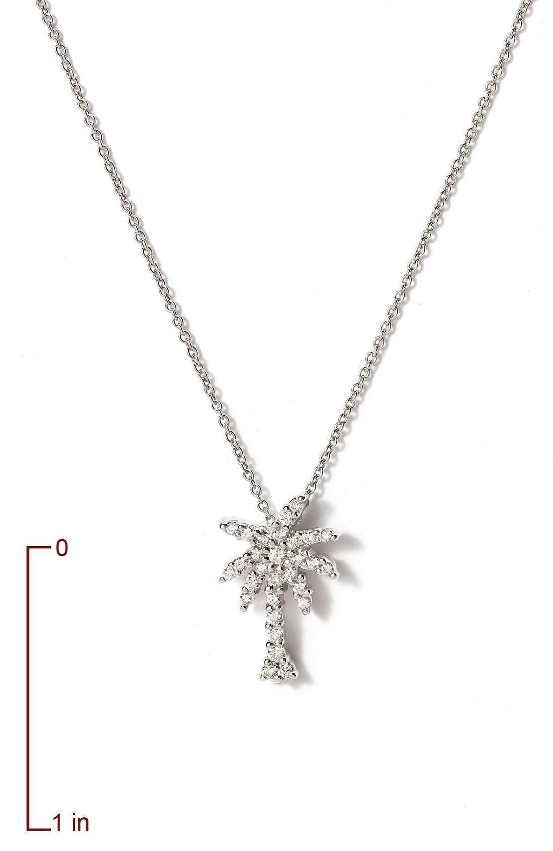 'Tiny Treasures' Palm Tree Diamond Pendant,                             Alternate thumbnail 3, color,                             White Gold