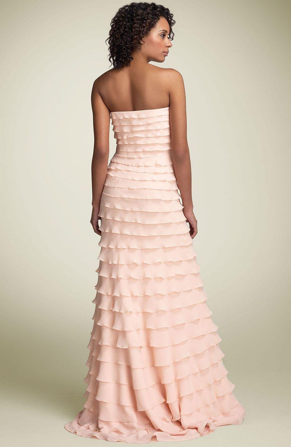 Alternate Image 2  - Tadashi Tiered Ruffle Silk Gown