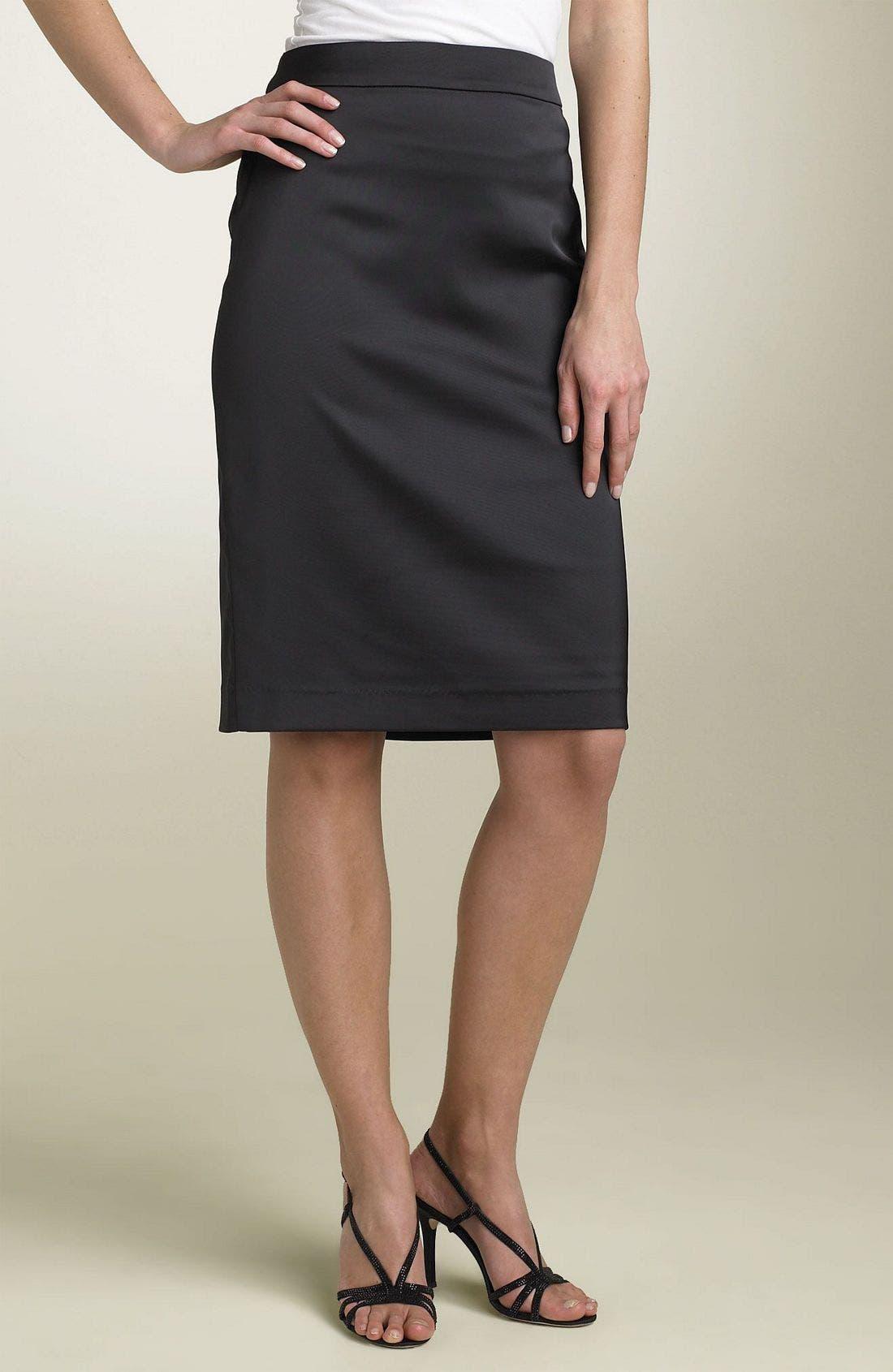 Alternate Image 1 Selected - Tadashi Shoji Stretch Satin Pencil Skirt
