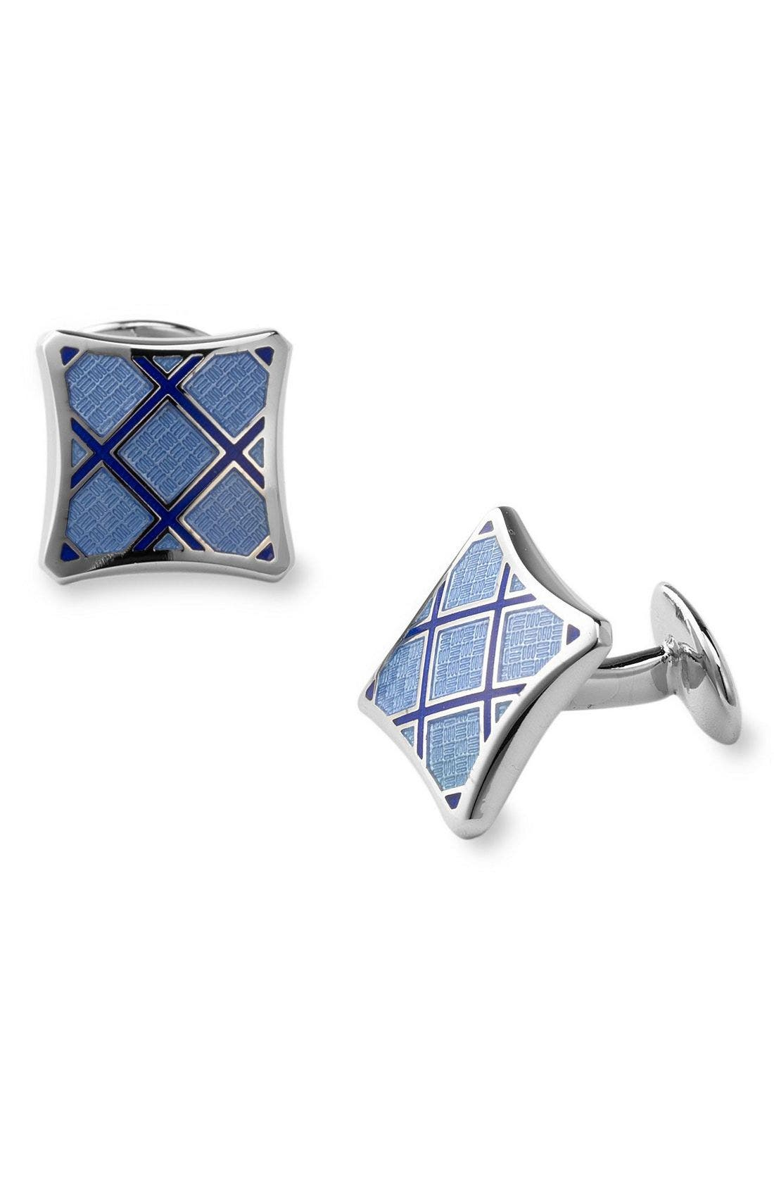 Sterling Silver Cuff Links,                         Main,                         color, Blue