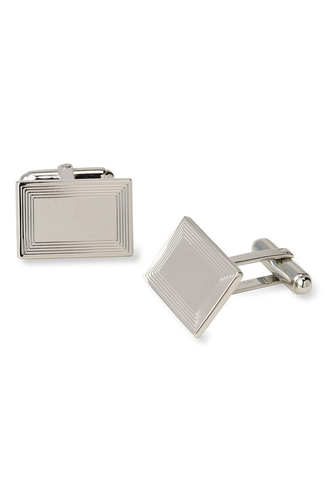 Cuff Links,                         Main,                         color, Silver