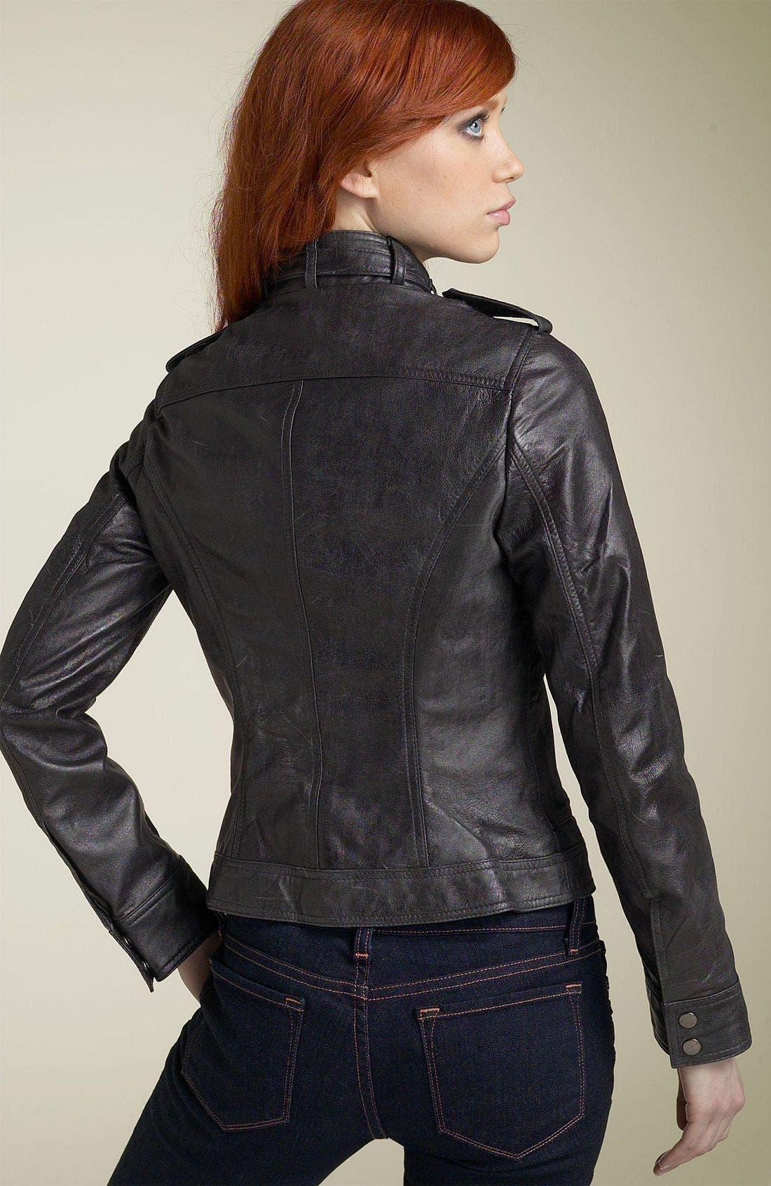Kenna-T Motorcycle Jacket,                             Alternate thumbnail 2, color,                             Distressed Black