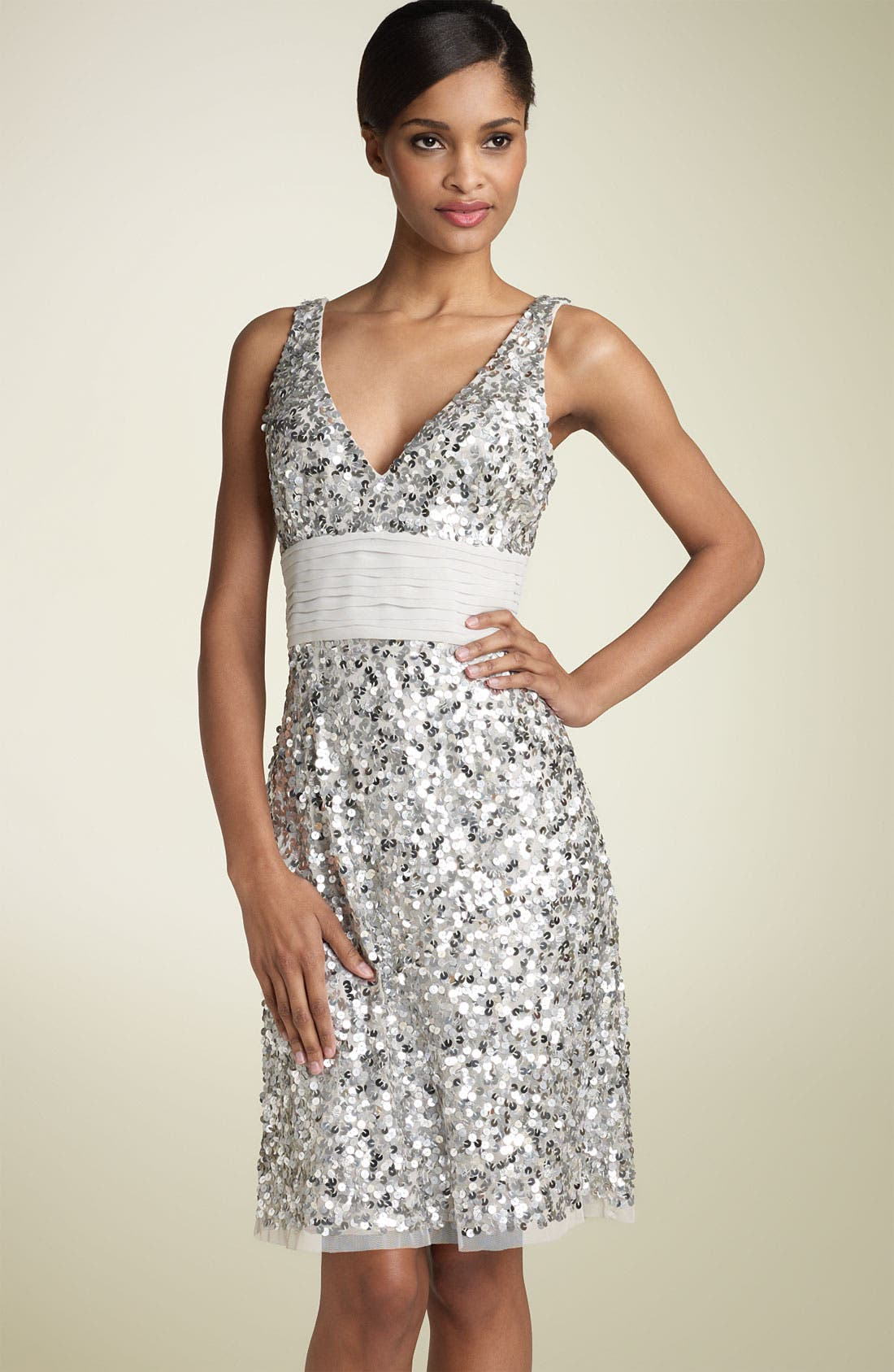 Alternate Image 1 Selected - Adrianna Papell Sequin Sheath Dress with Chiffon Waist