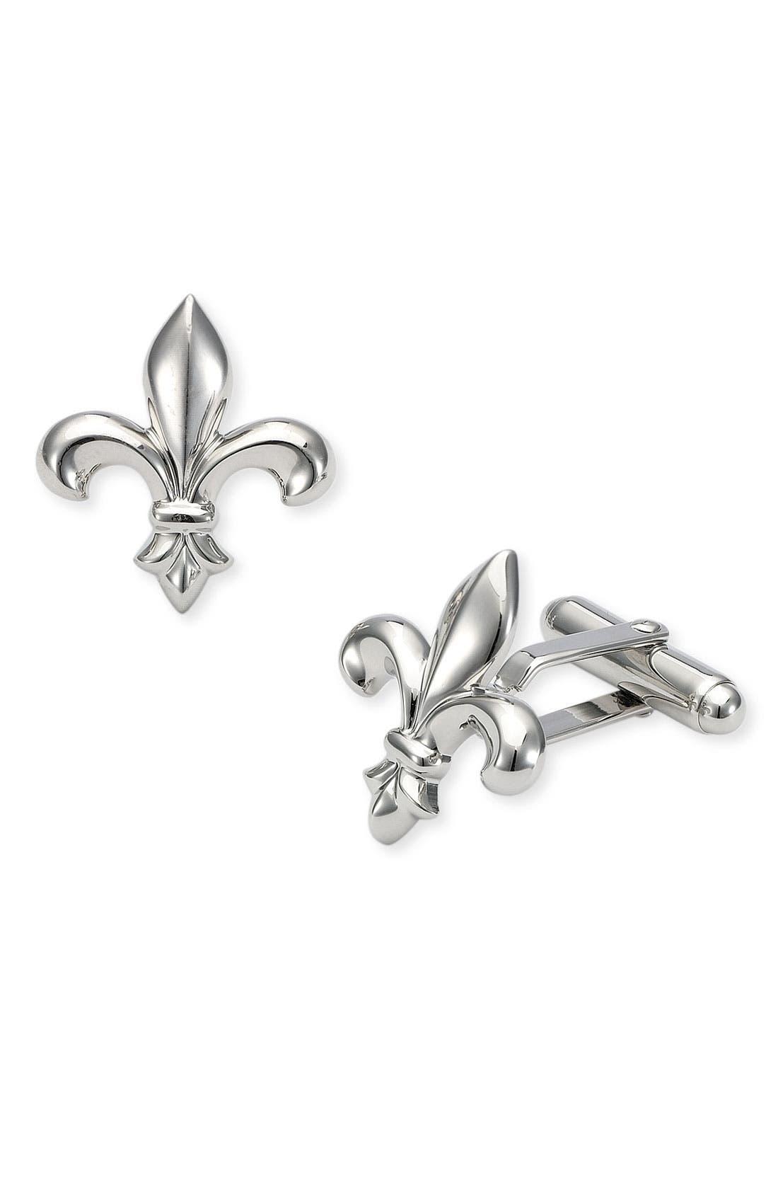 Fleur de Lis Cuff Links,                         Main,                         color, Silver