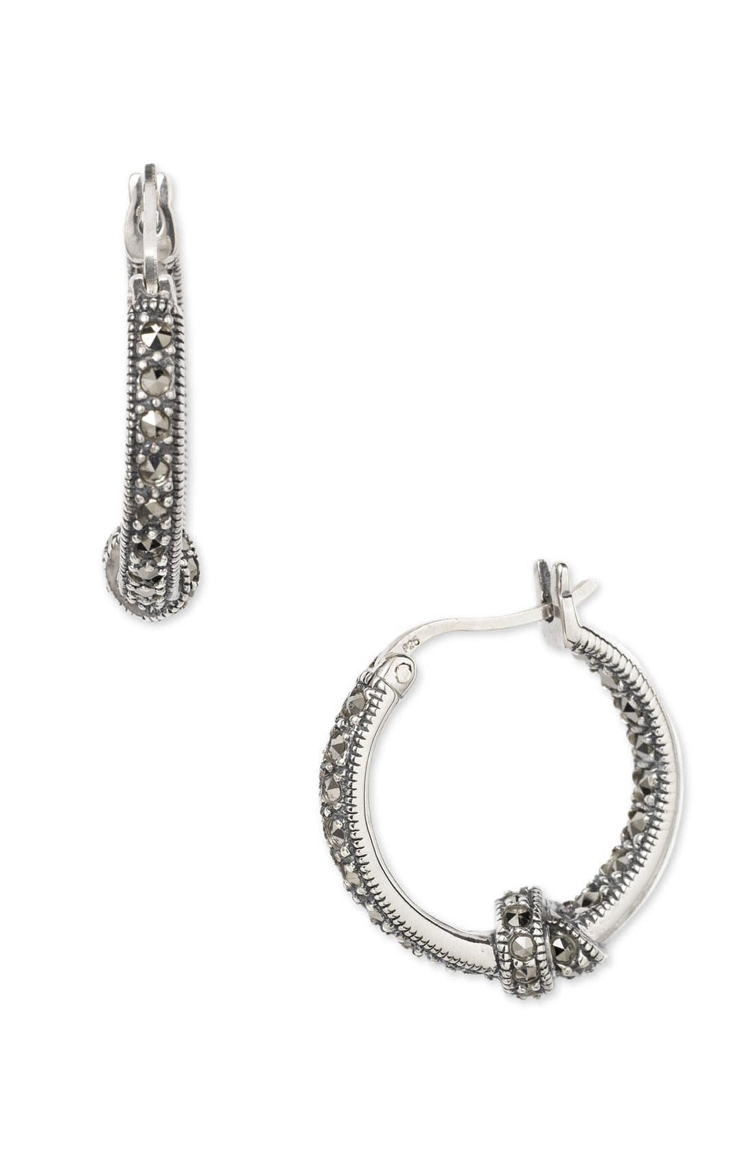 Main Image - Judith Jack Marcasite Hoop Earrings with Knot Detail