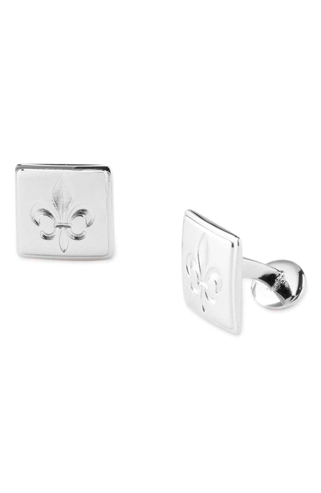 Alternate Image 1 Selected - David Donahue 'Fleur de Lis' Sterling Silver Cuff Links