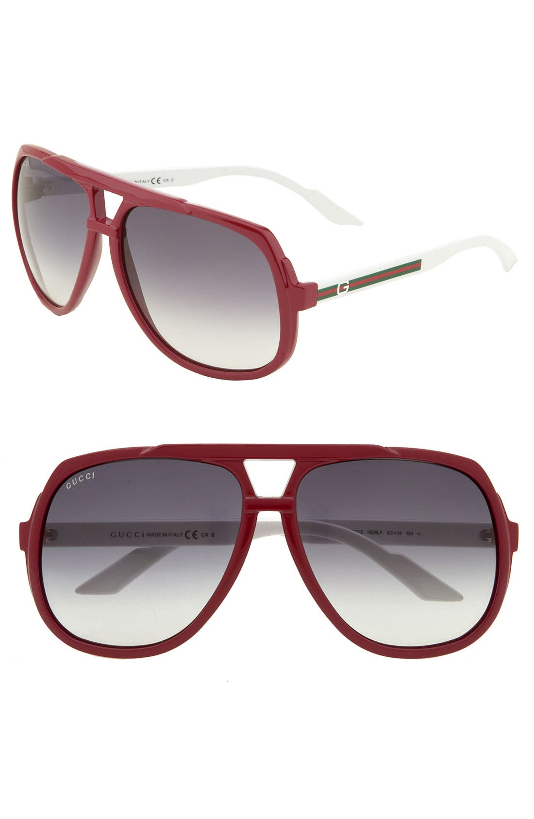 Alternate Image 1 Selected - Gucci Vintage Inspired Stripe 63mm Aviator Sunglasses