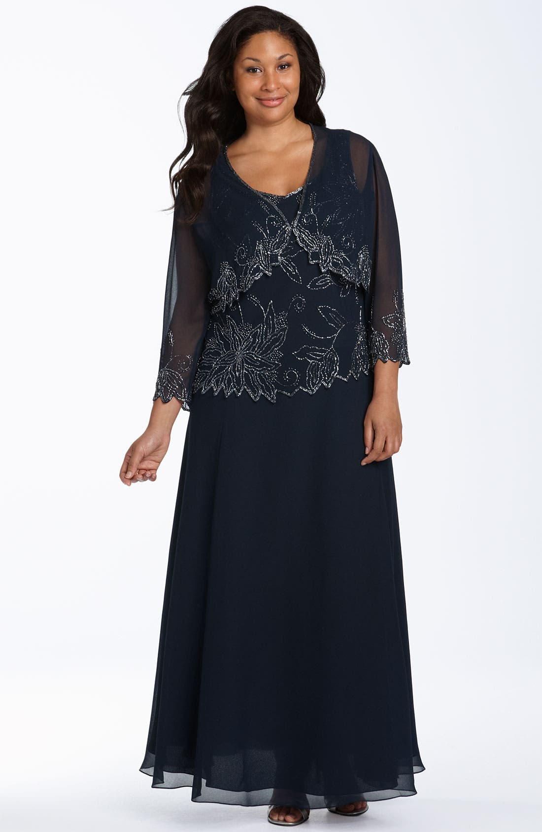Main Image - J Kara Beaded Dress & Sheer Jacket (Plus Size)