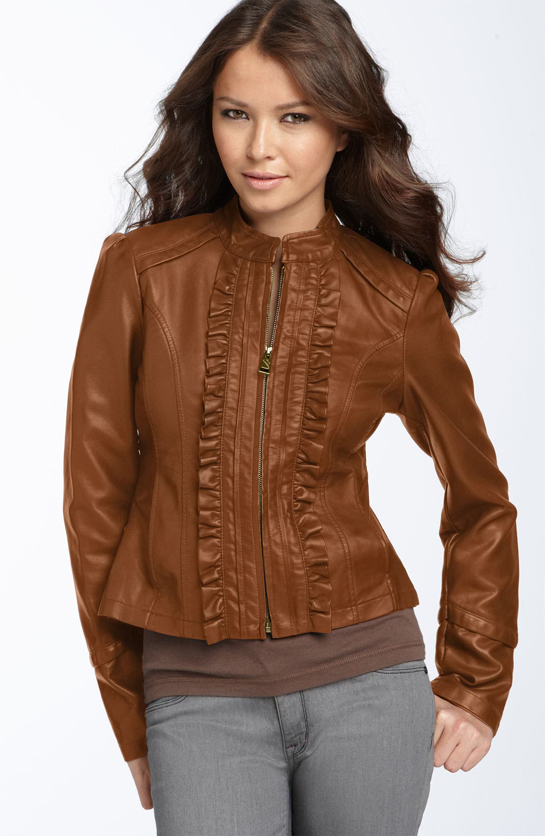 Alternate Image 1 Selected - Steve Madden Ruffled Faux Leather Jacket