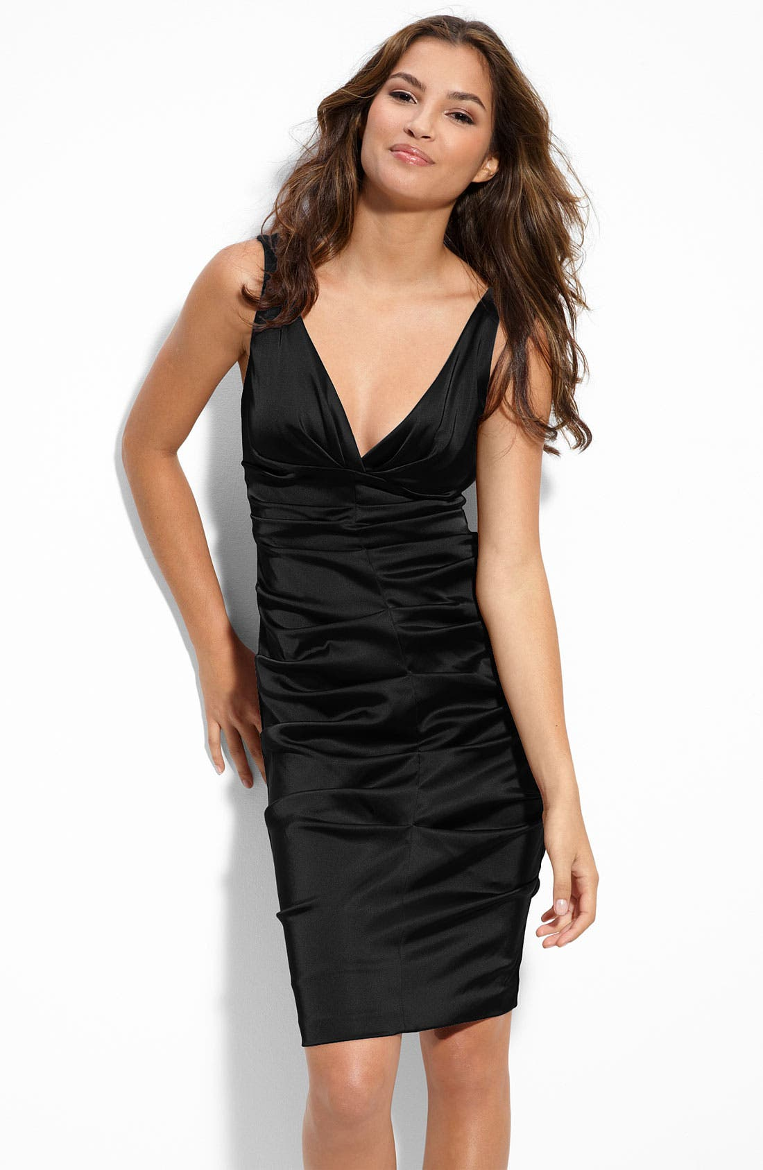 Alternate Image 1 Selected - Xscape Ruched Stretch Satin Sheath Dress