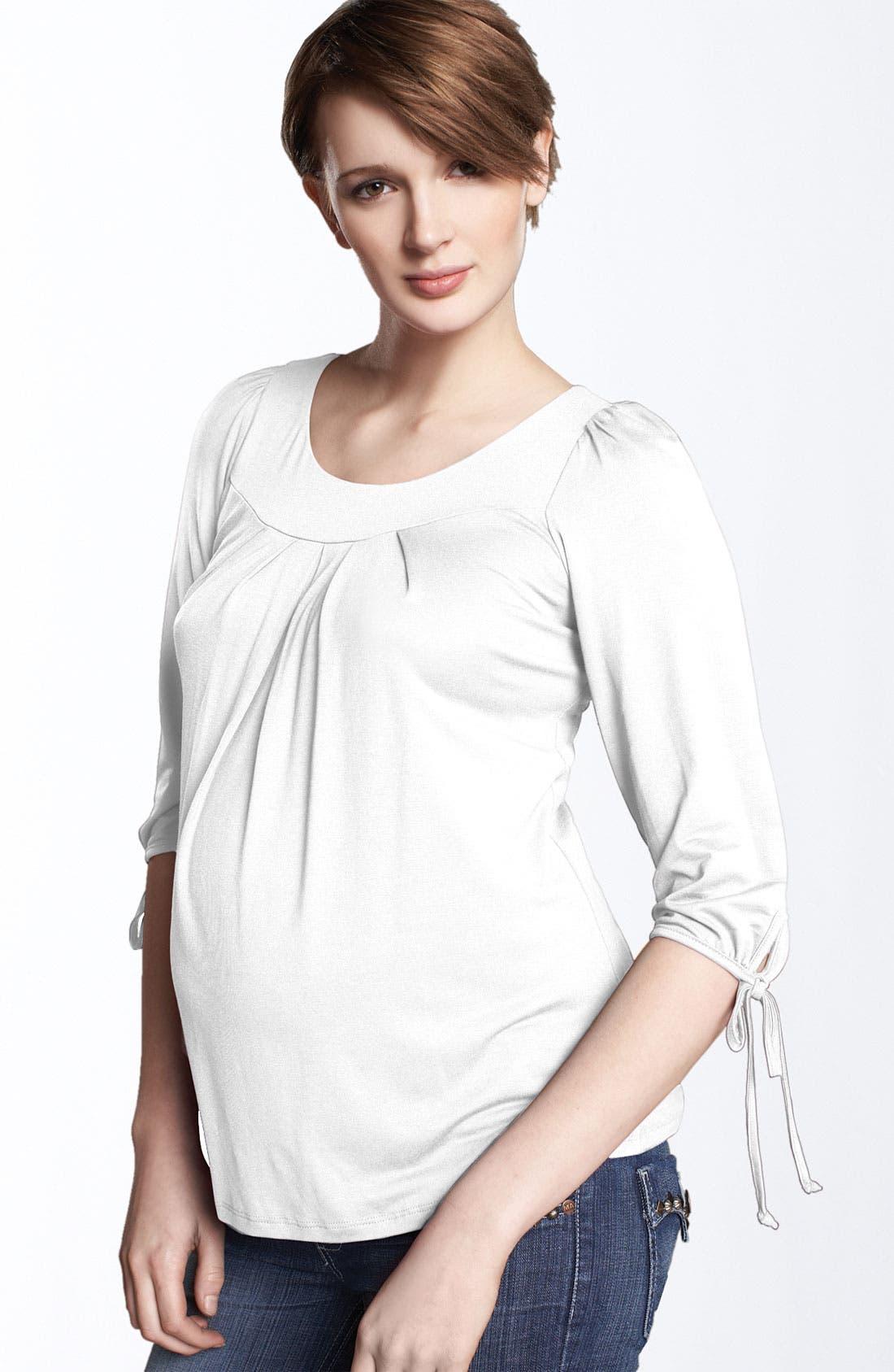 Alternate Image 1 Selected - Maternal America Maternity Tie Sleeve Top
