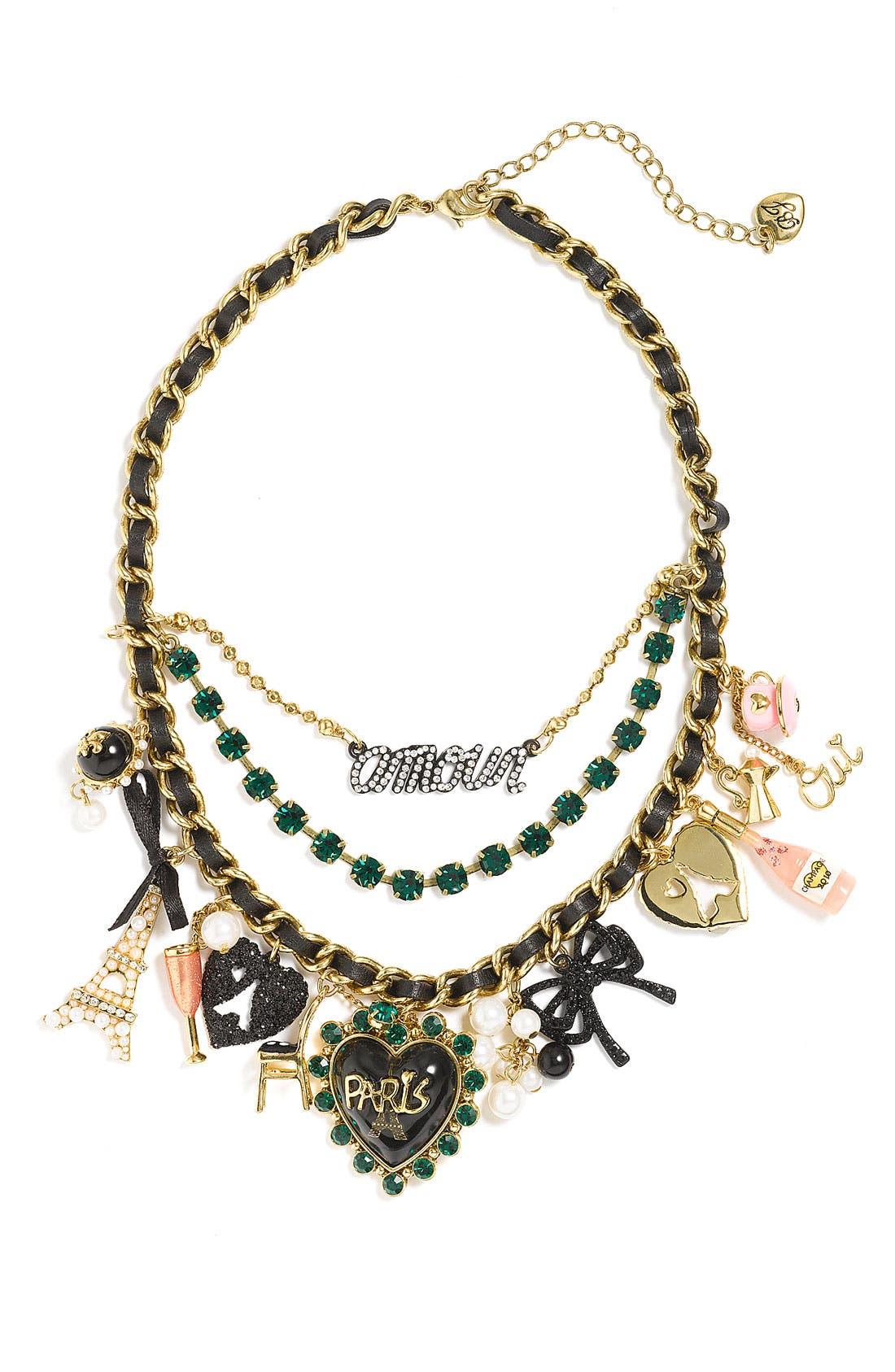 Main Image - Betsey Johnson 'Paris Case' Cluster Necklace