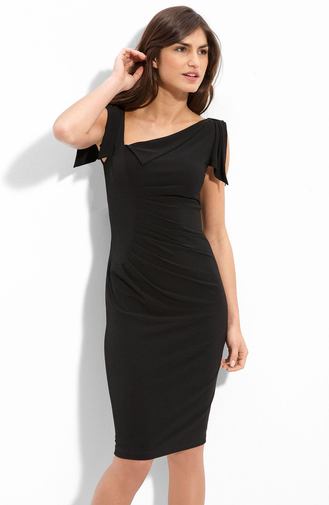 Main Image - David Meister Asymmetrical Pleated Jersey Sheath Dress