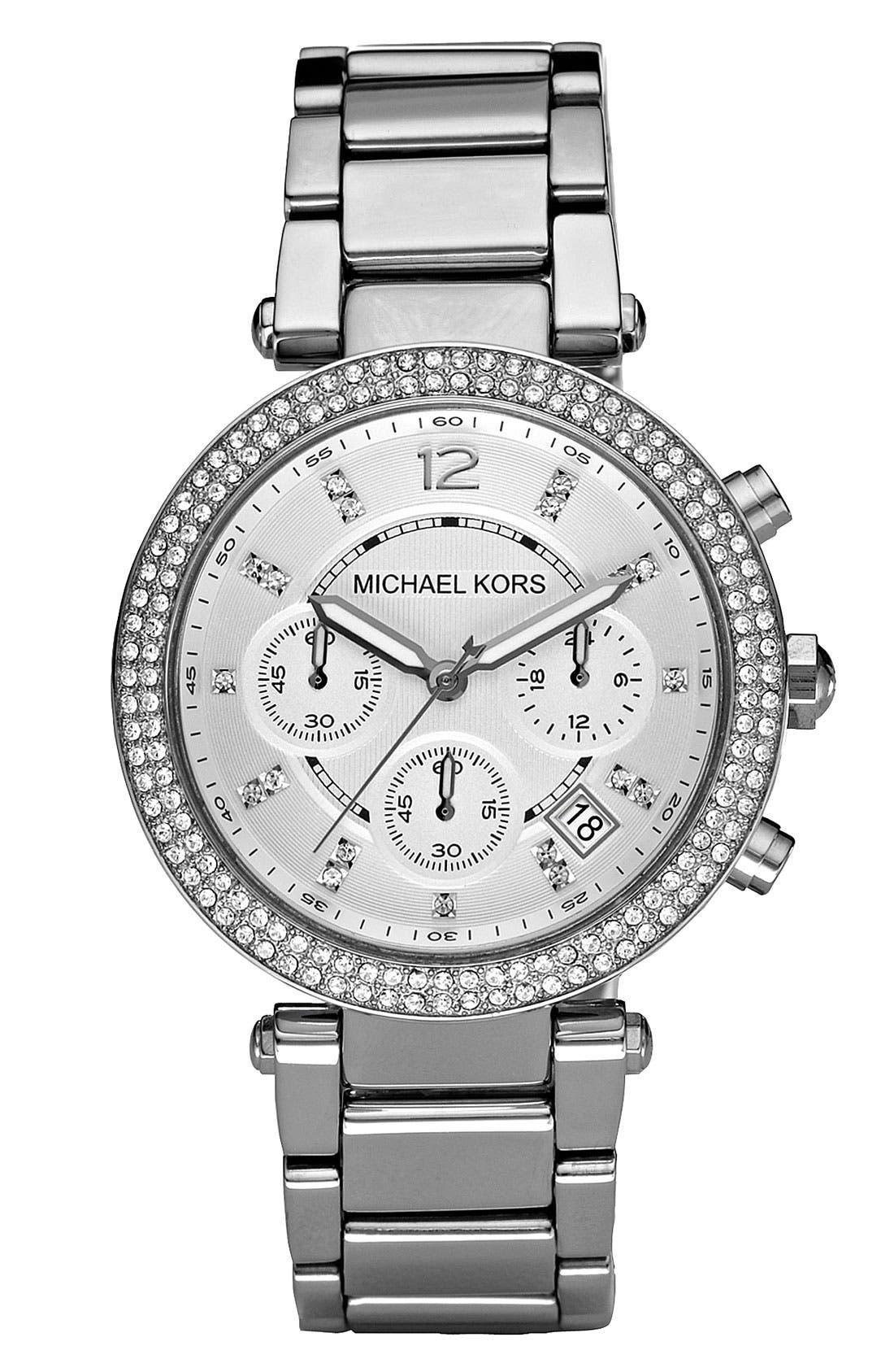 Michael Kors 'Parker' Chronograph Bracelet Watch, 39mm,                             Main thumbnail 1, color,                             Silver