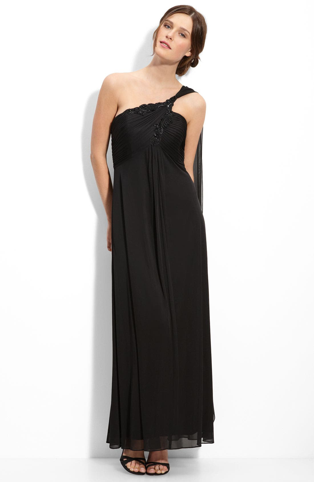 Alternate Image 1 Selected - Alex Evenings One Shoulder Beaded Mesh Gown